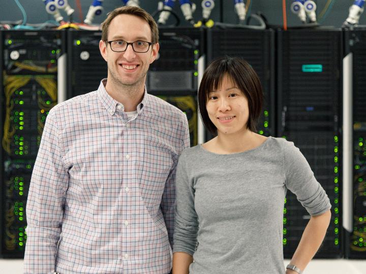 Jakoah Brgoch and Judy Wu in server room