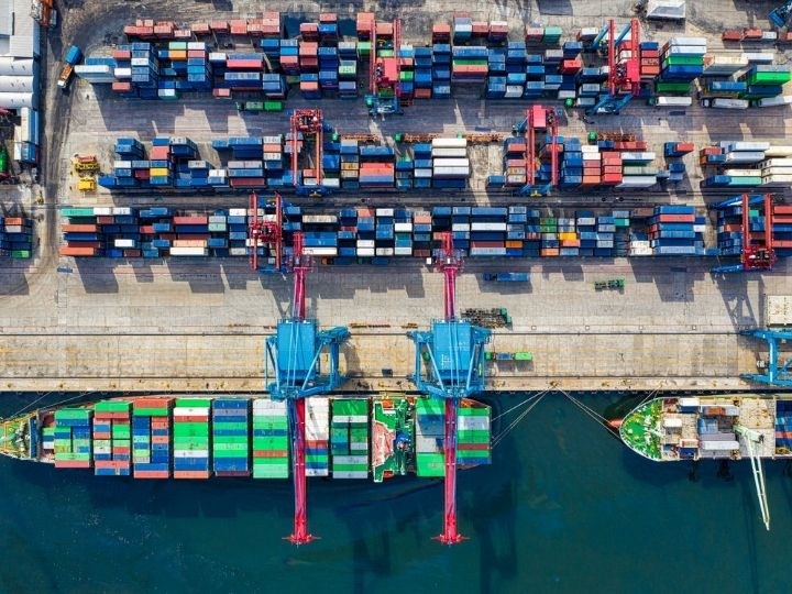 Aerial view of shipping container terminal