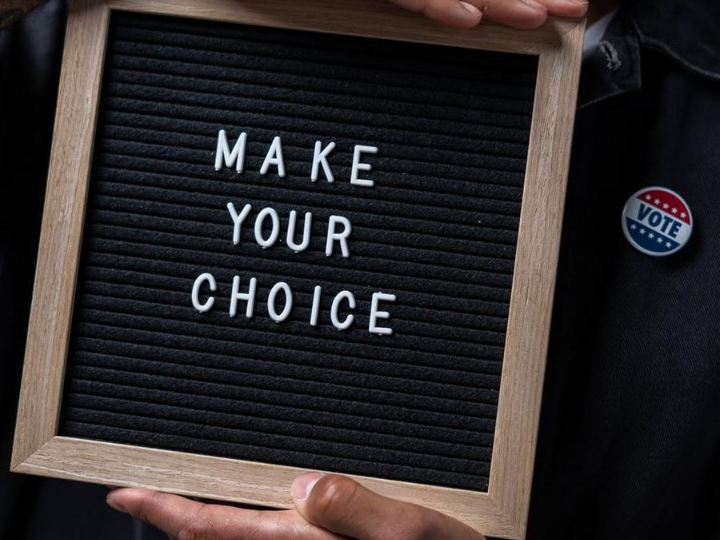 "Blackboard with ""make your choice"" text"
