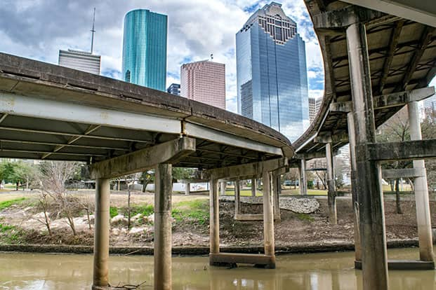 Underneath Highway Overpasses in Buffalo Bayou Park, with a View of Downtown Houston.