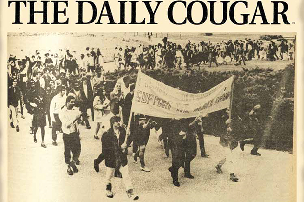 The Daily Cougar front cover depicting a campus political demonstration.