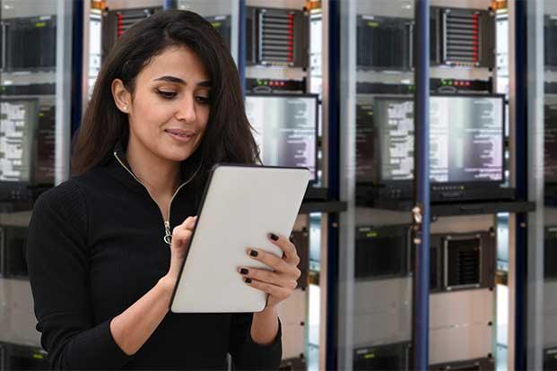 IT engineer in data center.