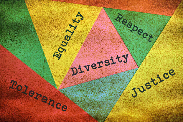 A collage that says tolerance, diversity, justice, respect, and equality.
