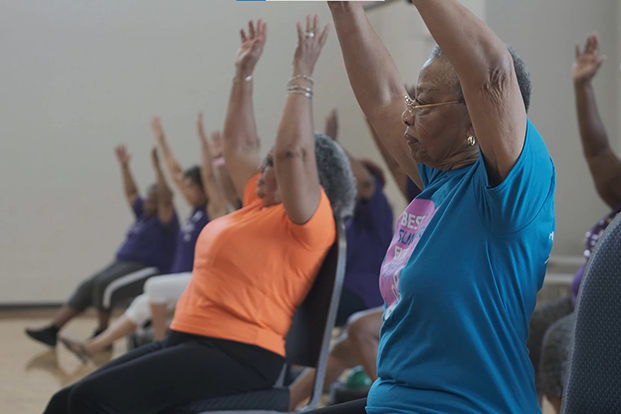 Seniors participate in group exercise in the UH TOUCH program