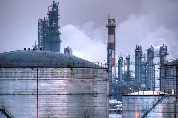Oil industry night scene.