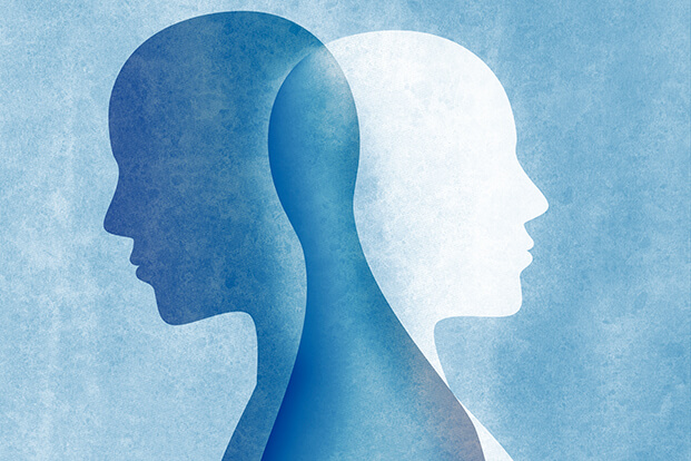 Two silhouettes of men intersecting each other on a blue background.