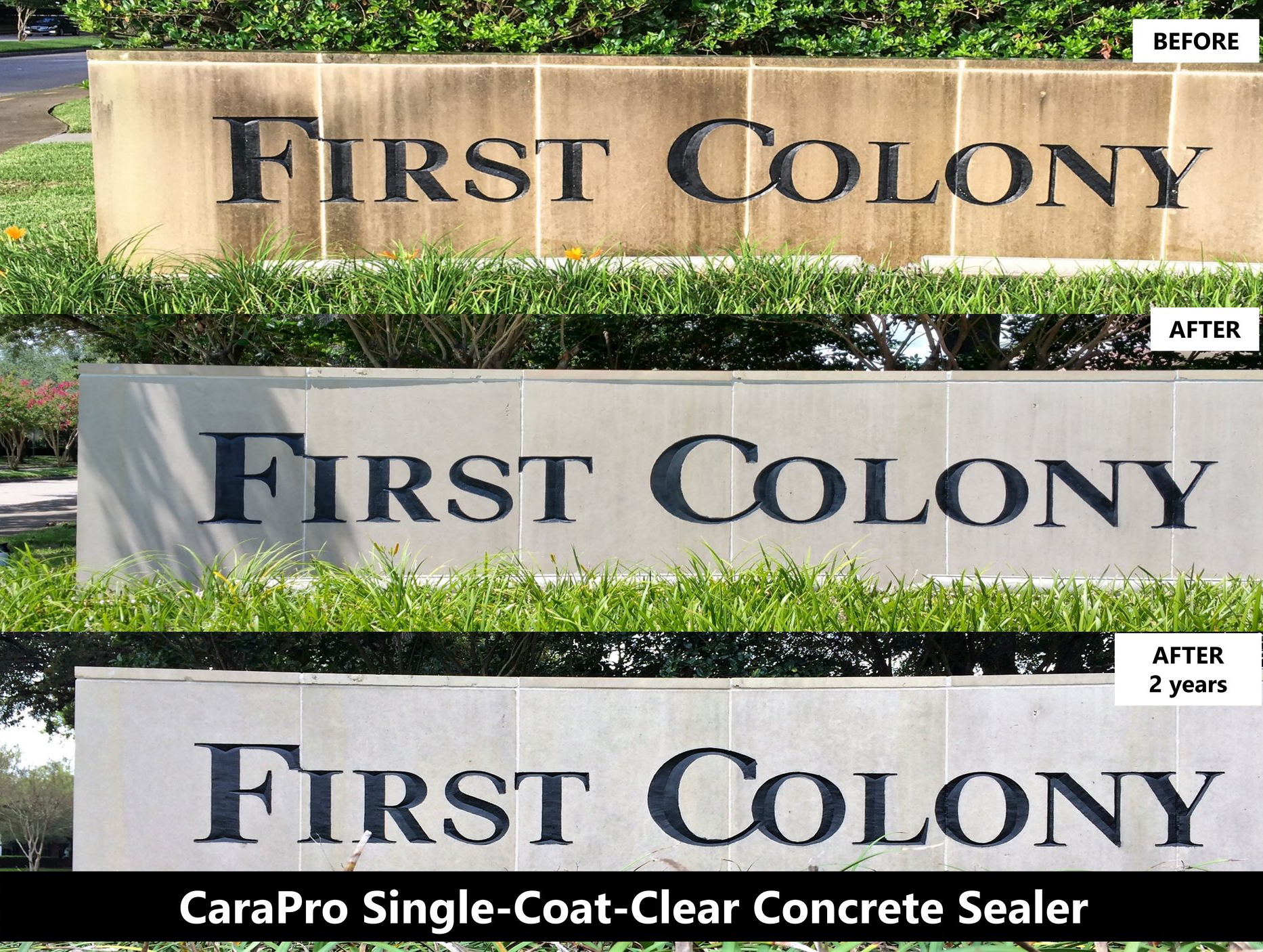 A before and after image of the First Colony Mall sign in Sugarland, TX.