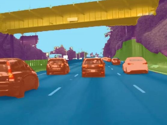 A digital rendering showing several vehicles traveling down a highway.