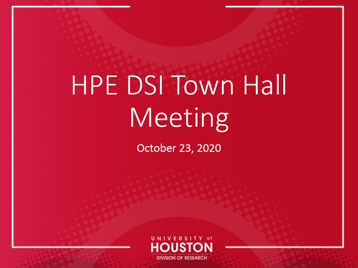 Title card for the HPE DSI Town Hall Meeting Presentation