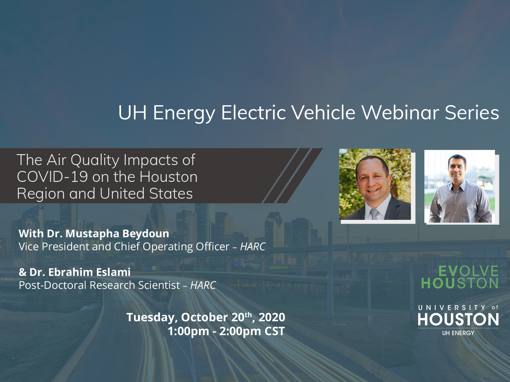 UH Energy Electric Vehicle Webinar: The Air Quality Impacts of COVID-19 Image