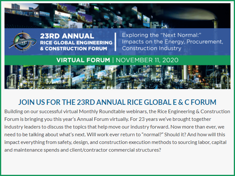 23rd Annual Rice Global E & C Forum Image